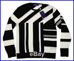 $1,495 Purple Label Cashmere Black Tour De Ralph Jersey Stripe City Sweater NWT