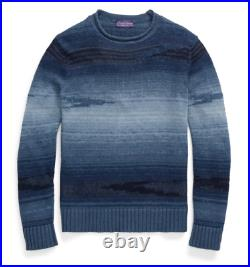 $1,495 Ralph Lauren Purple Label Italy Mens Blue Ombre Southwest Linen Sweater