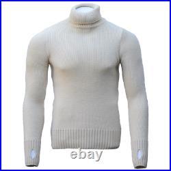 100% Merino Wool FITTED Submariner Sweater in Ecru Roll / Turtle Neck Jumper