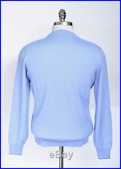 $1095 NWT BRUNELLO CUCINELLI Blue 100% Cashmere Crewneck Pullover Sweater 50 M