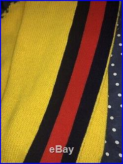 $1300 Mens Gucci Wool Sweater Blind For Love Wolf Yellow Medium 100% AUTHENTIC