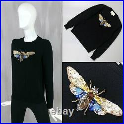 $1350 Gucci Women Embroidered Sequin Bee Cashmere Silk Sweater Pullover Jumper M