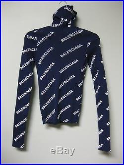 $1390 Balenciaga AUTH NEW Logo Printed Turtleneck Hood Top Ribbed Sweater M Navy