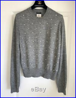 $1600 14a Chanel Gray White Pearl Cashmere Mohair Sweater 44