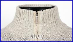 $1750 LORO PIANA 100% BABY CASHMERE / SUEDE 1/2 Zip Sweater Cream 50 M