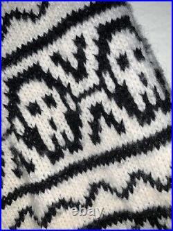 2006 Alexander McQueen Knit Long Cardigan Sweater Coat Longhorn Black White M/L