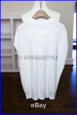 2018 Brunello Cucinelli Sweater Top Vest White Cardigan monili trim size M