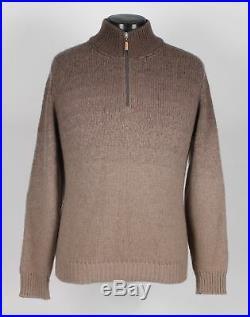 $2225 BRUNELLO CUCINELLI 100% CASHMERE OMBRE 1/2 Zip Sweater Tan M Medium