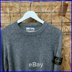 £279 Stone Island Wool knit Crewneck Pullover/Jumper/Sweater Grey M MEDIUM