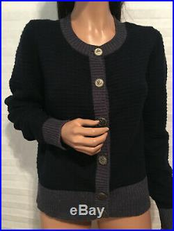 $3190 Auth. CHANEL'08A Cashmere Navy CC Crown Logo Buttons Cardigan Sweater 44