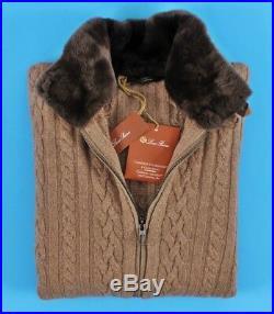 $3650 NWT LORO PIANA 100% CASHMERE / CASTORINO FUR Bomber Sweater Jacket 50 M