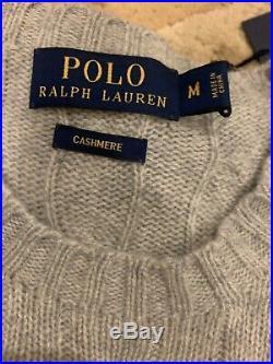 $398 POLO Ralph Lauren Cashmere Crew Neck Cable Knit Sweater Grey M Medium