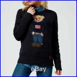 $398 Ralph Lauren 50th Anniversary Iconic Polo Bear Flag Wool Crew Neck Sweater