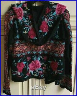 $410 Johnny Was Malanda Embroidered Hoodie Sweater Jacket Medium Last One