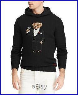 $428 Polo Ralph Lauren Men's Polo Bear Hoodie Wool Sweater Medium Black