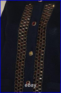 $5325 NEW CHANEL Cashmere JEWELED Paris-Byzance Navy CARDIGAN JACKET 36 38