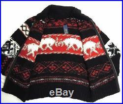 $595 Polo Ralph Lauren Cowichan Elk Reindeer Sweater Cardigan Wool Ski Jacket M