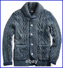 $795 RRL Ralph Lauren Indigo Aran Cable Knit Cotton Cardigan-MEN- M