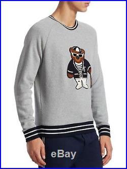 $795 Ralph Lauren Purple Label Italy Polo Bear Fleece Leather Sweatshirt Sweater