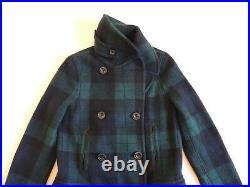 $898 Polo Ralph Lauren Lambs Wool Tartan Plaid Leather Sweater Jacket Peacoat XS