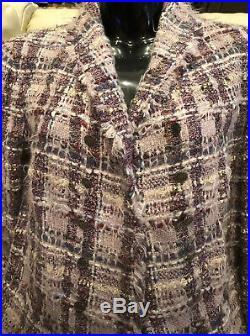 $8k CHANEL 05p Tweed FUR 2005 BOUCLE 40 6 8 42 Coat JACKET Top Dress Sweater M S