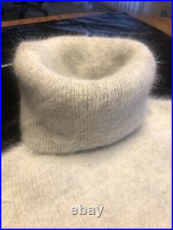 90% Fuzzy & Fluffy Angora Turtleneck With Fitted Stockings And Toque/beanie Hat