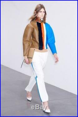 9000$ CELINE Runway Intarsia Sweater Leather / Mink Fur Size 38