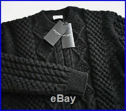 $990 New SAINT LAURENT Black ARAN CABLE-KNIT FISHERMAN 100% Wool Sweater M