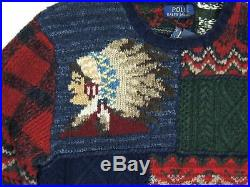 $995 Men Polo Ralph Lauren Indian Head Chief Bear Flag Plaid Patchwork Sweater M