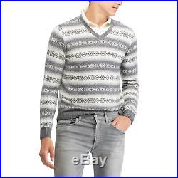 $995 Ralph Lauren Purple Label Mens Grey Fair Isle Cashmere V Neck Sweater