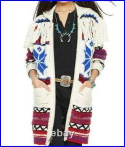 $998 Polo Ralph Lauren Indian Beacon Wool Alpaca Hooded Fringe Sweater Jacket L