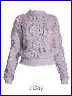 ACNE STUDIOS Kella Open Weave Cable Knit Sweater Purple Size M Orig. $410 NWT