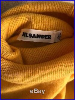 AUTHENTIC Jil Sander Yellow Cashmere Dolman Sleeve Turtleneck Sweater Top Size L