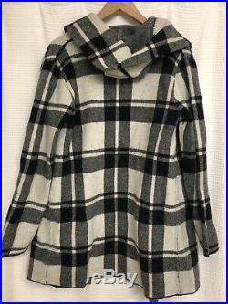 Anthropologie Field Flower Plaid Hooded Sweater Coat Sz Medium Black White NWOT