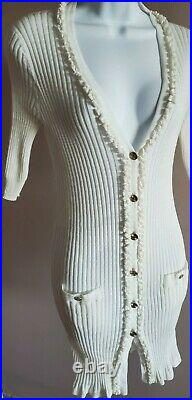 Auth 09p Chanel White Ruffled Ribbed Long Cardigan Sweater CC Gold Buttons 40