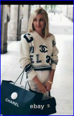 Auth Chanel 2019 CC Logo Knit Sweater Size38 Us6