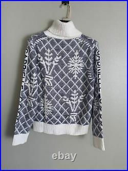 Auth Chanel Coco Turtleneck Biue Sweater Size38 Us6