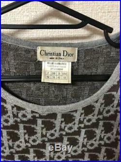 Authentic Christian Dior Vintage Trotter Monogram Sweater Knit Size 42 US 12 M