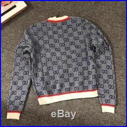 Authentic New Gucci Cardigan Sweater Size M Women's Blue GG Logo