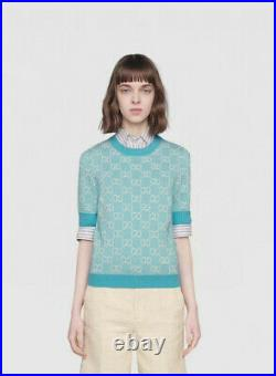 Authentic New Gucci Short Sleeve Sweater Medium M Women's Blue GG Logo