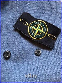 Authentic Stone Island Mens Sweater Knitwear 1/3 Zip Jumper Wool Blue Size M