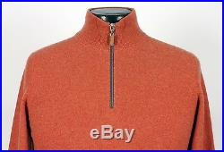 BRUNELLO CUCINELLI 100% CASHMERE 1/2 Zip Sweater Orange 50 M Medium