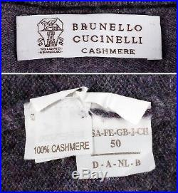 BRUNELLO CUCINELLI 100% CASHMERE 1/2 Zip Sweater Purple 50 M Medium