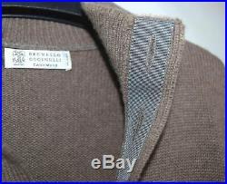 BRUNELLO CUCINELLI 100% Thick KNIT Cashmere Button Sweater Brown Medium M