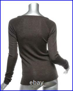 BRUNELLO CUCINELLI Womens Brown Knit Beaded Long Sleeve V-Neck Sweater Top M NEW