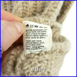 Babaa Womens No 27 Sweater in Soft Sand Size M Vegan Eco Wool Cable Knit Thick