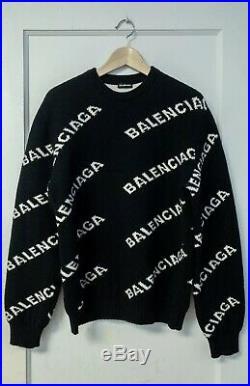 Balenciaga Unisex Wool Intarsia All over Logo Sweater (Black, Size Medium Men's)