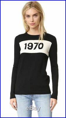 Bella freud 1970 jumper wool sweater in black medium m