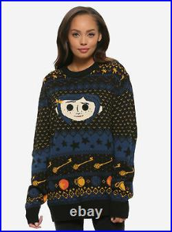 Box Lunch Coraline Button Eyes Ugly Christmas Sweater M Medium Only One