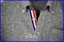 Brooks Brothers Black Fleece x Thom Browne Polo Sweater Gray Wool Popover BB2